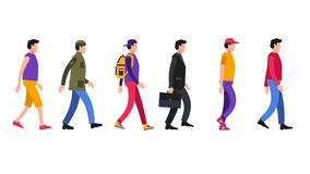Walking cartoon people in different everyday clothes