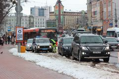 Kaliningrad, Russia - February 04, 2019: The police stopped the violators at winter day royalty free stock photo