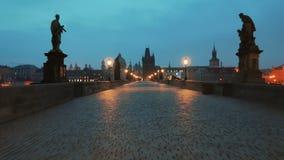 Walking the Charles Bridge at Dawn in Prague, Czech Republic (Czechia). PRAGUE, CZECH REPUBLIC CZECHIA, 12 MAR 2016 - A romantic and inspiration POV walk through stock footage