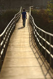 Walking child on the suspension bridge Stock Photos