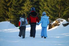 Walking Children in Winter Royalty Free Stock Images