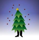 Walking christmas tree stock illustration