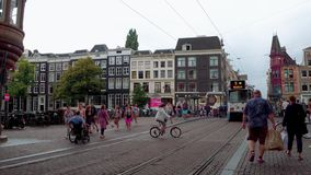 Walking through the city center if Amsterdam - typical street view - AMSTERDAM - THE NETHERLANDS - JULY 19, 2017. Walking through the city center if Amsterdam stock footage