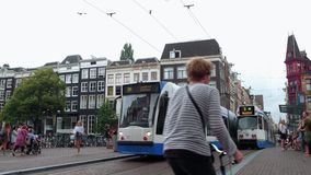 Walking through the city center if Amsterdam - typical street view - AMSTERDAM - THE NETHERLANDS - JULY 19, 2017. Walking through the city center if Amsterdam stock video footage