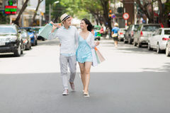 Walking in the city street Royalty Free Stock Images