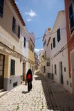 Walking at Ciutadella street Royalty Free Stock Photography