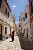 Walking at Ciutadella street. Ciutadella city at Menorca island in Spain Royalty Free Stock Photography