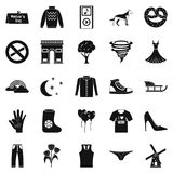 Walking clothes icons set, simple style. Walking clothes icons set. Simple set of 25 walking clothes vector icons for web isolated on white background Royalty Free Stock Images