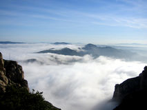 Walking in the Clouds. At Montserrat, Barcelona, Spain royalty free stock photography