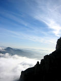 Walking in the Clouds. At Montserrat, Barcelona, Spain stock photography