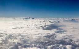 Walking on the clouds. The landscapes out of airplane's window, cloudy blue sky, Yunnan, China stock images