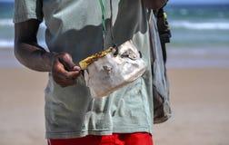 Walking coalho cheese wendor Stock Photography