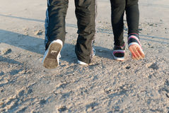 Walking on the concrete road Royalty Free Stock Photography