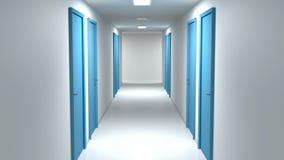 Walking through the corridor. With closed doors