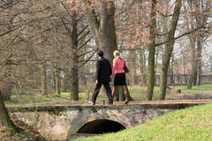 Walking couple. Couple walking on the bridge in the park royalty free stock photography
