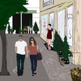 Walking couple vector illustration