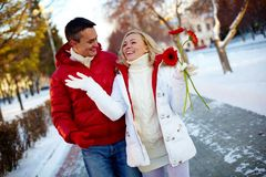Walking couple Royalty Free Stock Photos