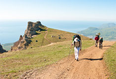 Walking in Crimean mountains Stock Photo