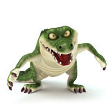 Walking croc look mad. 3d render cartoon of croc collection Royalty Free Stock Photos