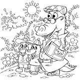 Walking crocodiles. Black-and-white illustration (coloring page): family of crocodiles walks along a path in a park Stock Photos