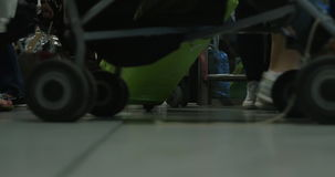 Walking crowd with bags at the airport or station stock footage