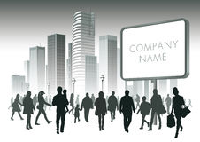 Walking crowd. In the city stock illustration