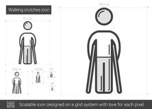 Walking crutches line icon. Royalty Free Stock Photography