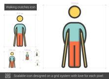 Walking crutches line icon. Stock Photo