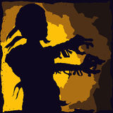 Walking Cursed Mummy Retro Poster, Vector Illustration Royalty Free Stock Photography