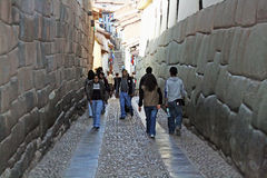 Walking in cusco Stock Photos