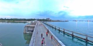 Walking and cycling on Marina Barrage stock image