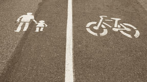 Walking and cycling marks Stock Photography