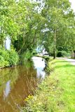Walking and cycling  path along brecon canal in Wales Royalty Free Stock Photos
