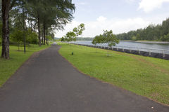 Walking and cycling path by the river Royalty Free Stock Photos