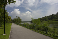 Walking and cycling path by the river Royalty Free Stock Photo