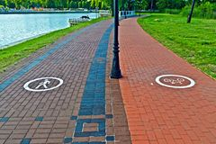 Walking and cycling paths Royalty Free Stock Image