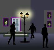 Walking  after dark. Royalty Free Stock Image