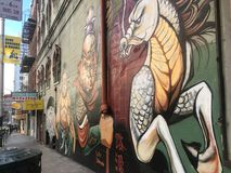 San francisco, california, America, 07/05/2019. nice grafity and statues art in the street royalty free stock image