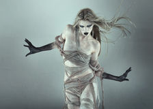 The walking dead scary girl. With black hands Royalty Free Stock Image