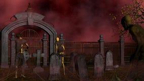 Walking dead in spooky foggy cemetery Royalty Free Stock Photos