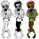 Walking Dead Zombie Set. An image of a set of zombie creatures in color plus black and white Stock Photography