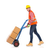 Walking delivery person Royalty Free Stock Photos