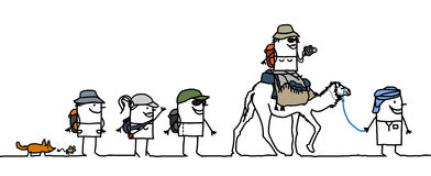 Walking in the desert. Hand drawn cartoon characters Royalty Free Stock Photography