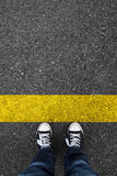 Walking direction. Asphalt Royalty Free Stock Photography