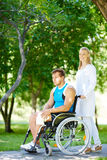 Walking with disable patient royalty free stock image