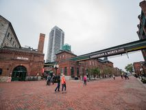 Walking in The Distillery Historic District. Toronto, OCT 5: Walking in The Distillery Historic District on OCT 5, 2018 at Tornoto, Canada royalty free stock photography