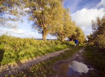 Walking the dog. A woman walking her dog in countryside Stock Photography