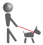 Walking the dog. Illustration of a man walking the dog on a white background stock illustration