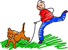 Walking the dog. Boy walking the pet dog - toddler art style Stock Photo