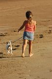 Walking the dog along beach royalty free stock photo